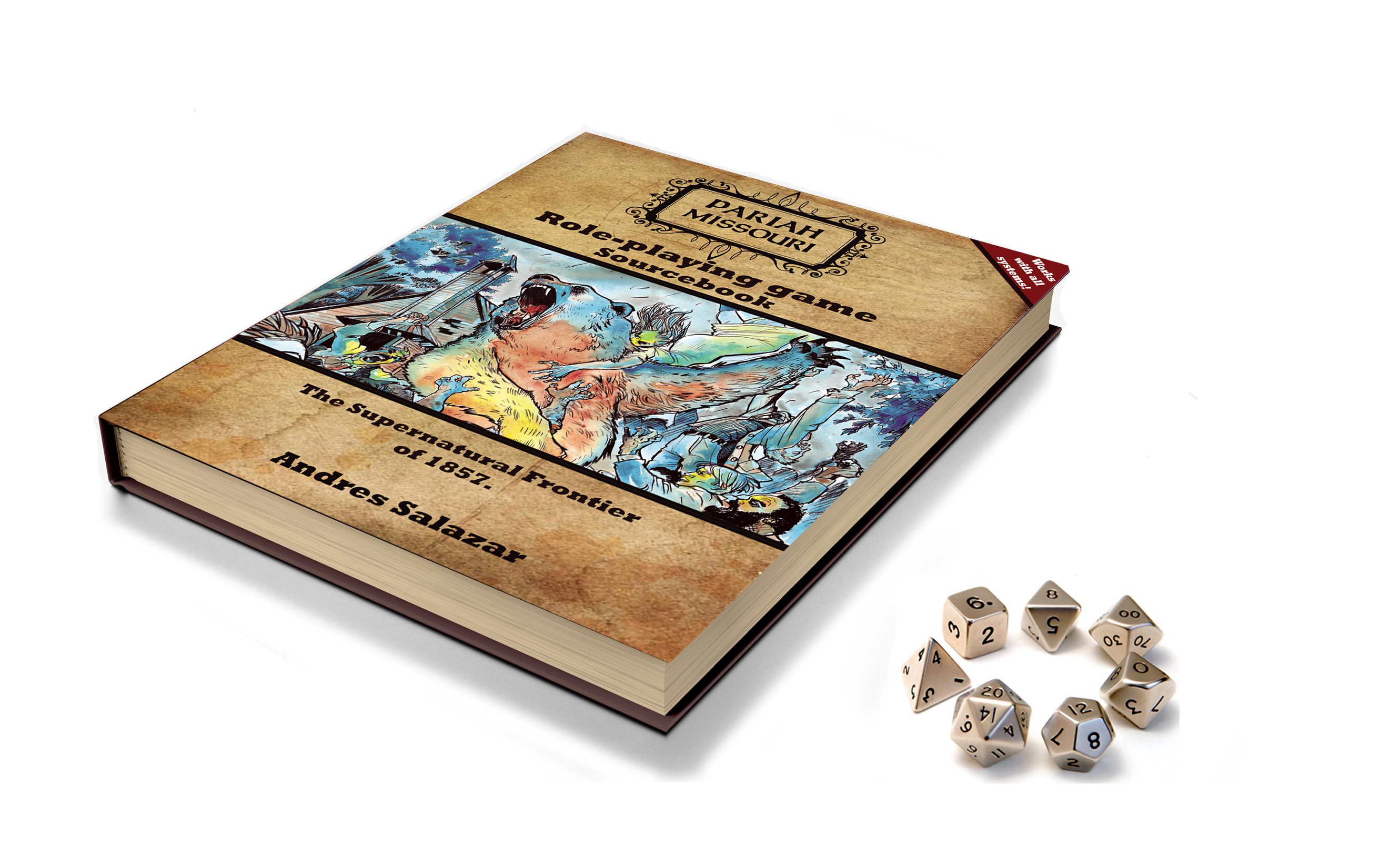 mockup- RPG book with dice